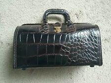 Vintage Upjohn Homa Medical Cowhide Leather Croc Genuine Doctors Medical Bag
