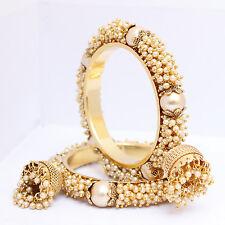 Indian Traditional Bollywood Gold Tone Pearl Jhumki Bangle Set Bridal Jewellery