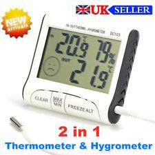 Digital LCD Thermometer Hygrometer Humidity Meter w/ Probe Sensor Room Indoor UK