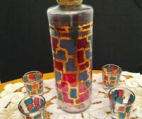 Art Deco Hi-Ball Glass Cocktail Mixer Set-Brass Top-Gold/Blue/Red