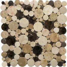 Flusskiesel Mosaik Bordüre Weiß Grau Schwarz Holzoptik Wand/Boden Fliesen  Bad