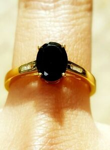 Natural Black Sapphire Diamond Solid 9K Yellow Gold Ring Statement Cocktail