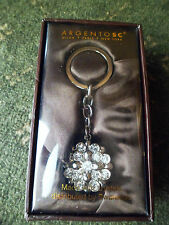 Argento SC Flower? Puff Ball Key Chain Swarovski Crystals Silver-Tone Keychain