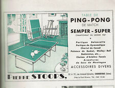 ANCIENNE PUBLICITE 1950  TABLE DE PING PONG SEMPER SUPER  AD pub