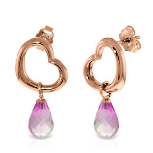 14K Solid Rose Gold Heart Earrings with  Dangling Natural Pink Topaz