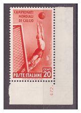 REGNO 1934  - MONDIALI DI CALCIO  Centesimi 20   NUOVO  **   NUMERO DI TAVOLA