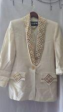 CACHE CRISCIONE NEW YORK 2-Piece Cream Skirt Suit Gold Embellishments Size S