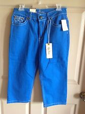 NWT ROYAL PREMIUM Bright Blue Sapphire Bling Capri Size 6 Cotton Stretch *NICE!*