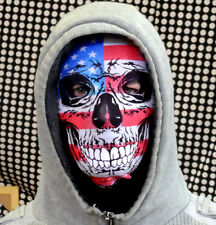 GRUNGE USA FLAG SKULL FACE FUN HORROR 3D FABRIC FACE MASK STAG NIGHT FANCY DRESS