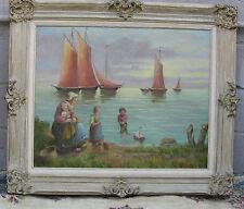Cliff Summerville Oil Painting Signed  Nautical Landscape Sailing Children