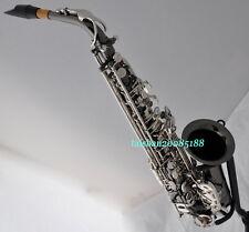 Advanced Black Silver Nickel Eb F# Alto Saxophone Saxofon Black shell mouthpiece