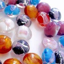 50 pièces 12mm LAMPWORK plat perles rondes-mixte-a3905
