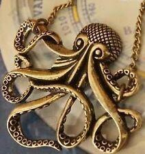 OCTOPUS pendant VINTAGE brass NAUTICAL NECKLACE antique bronze LONG CHAIN squid