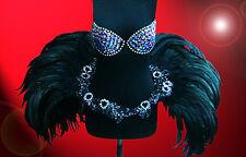 Showgirl Drag Queen Carnival Cabaret Dance Costume Black Under Bust feather lace