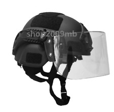 Airsoft Swat Helmet Combat Mich 2000 Helmet with Protective Goggles Lens Black