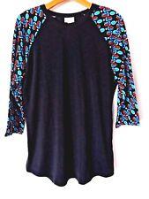 LuLaRoe Randy T Shirt Black with Multi Color Raglan Sleeve Size L #5740