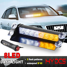 8 LED Car Truck Police Dash Flash Light Emergency Warning 3 Mode Yellow A White