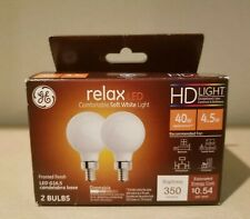 GE Relax LED GE 2PK 4.5W LED G16.5 Frosted Finish Bulb