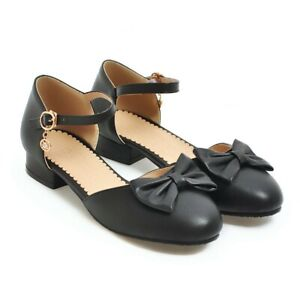 UK Ladies Block Heels Ankle Strap Bowknot Mary Jane Casual Party Shoes Cute Size