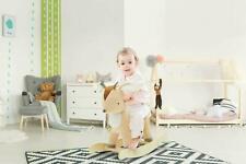 Baby Plush Deer Rocking Horse Nursery Toy Kids Ride On Wooden Animal Rocker Gift