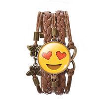 Liebe Ziffernblatt Lächeln Emoji Bronze braunes Leder Emotionen Armreif Armband