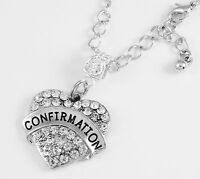 Confirmation Necklace  Crystal Heart Charm  Confirmation jewelry gift