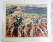 Poster Vintage escuelas-un ganado rancho en oeste de Canadá-C 1920s/1930s