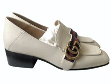 Gucci Peyton Leather Heeled Loafers Flats Size 35.5