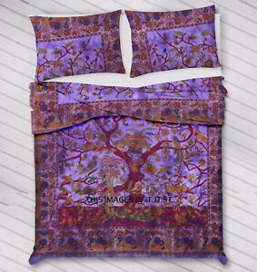 Indian Cotton Mandala Handmade Two Pillow Cover Queen Duvet Cover Blanket Ethnic