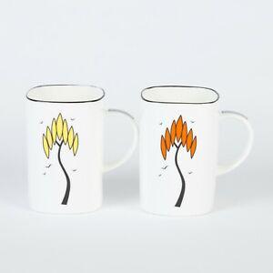 "Pair of Art Deco Bone China Square Mugs in the ""Ritzy"" Tree Design"