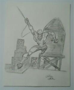 1993 Gene Colan Spider-Man Convention Sketch 11X14 Pencil Signed Marvel Comics