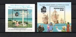 Bahamas 1992 set Columbus/Boats/Discovery of America sheets (Michel Bl.66 + 68)