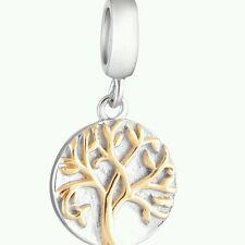 TREE OF LIFE GOLD Genuine S925 Sterling Silver Charm Bead For European Bracelet
