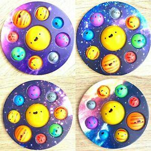 Pop Popper Fidget Toy Push It Poppet Bubble Stress Anxiety Relief Galaxy Planets