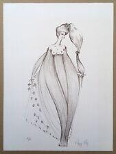 Lithographie Originale Regis Dho Portrait Femme Robe Sinueuse Signé Crayon 34/40