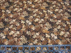 3 Yards Digital Cotton Fabric - QT Fabrics C Fisher Turkey Hill Oak Leaves Brown