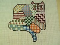 Needlepoint Hand Stitch Painted Canvas Petei 042 Crazy Quilt Patchwork Cat 18 Ct
