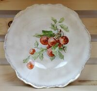 """Dresden China Serving Bowl Red Cherries Green Leaves Gold Trim 9 1/2"""" Vintage"""
