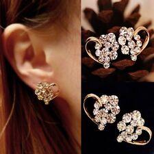 Beauty 1 Pair Fashion Women Elegant Crystal Rhinestone Heart Ear Stud Earrings