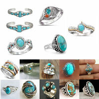 Women Vintage 925 Silver Gemstone Turquoise Bracelet Adjustable Wedding Jewelry