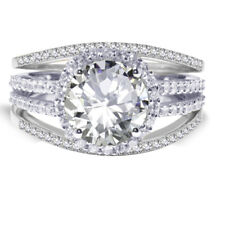 18k White Gold Plated Brilliant Clear Wedding Engagement Silver Ring Set 2.35 Ct