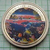 PALAU 1993 1 DOLLAR, MARINE LIFE PROTECTION - OCEAN SCENE, MERMAID, COLOURED