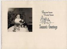 Boy By Christmas Tree Teddy Bear Console TV Photo Vintage Seasons Greeting Card