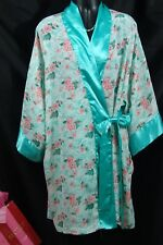 Victoria's Secret Robe One Size Blue floral Satin ~VS gold label spa wrap Sale