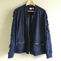 Chico's Zenergy 3 16 18 Classic Navy Jacket Neema Shadow Stripe Zip Pockets