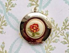 Vintage Locket Charm, Locket Pendant,Flower Pendant,Gold Filled Locket, #1418A