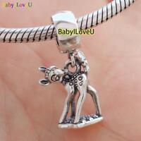 925 Sterling Silver Disne Bambi Dangle Charm Pendant Fit European Bracelet Chain