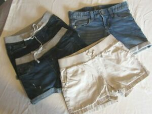 Lot of 3 Justice Jeans Shorts Girls Sz  10  Cuffed Hems Tan Shorts Free