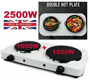 New 2.5Kw Portable Electric Hot Plate Double Ring Table Top Kitchen Cooker Stove