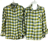Green Bay Packers Flannel Shirt Women's Large Long Sleeve Football NFL Lot of 2